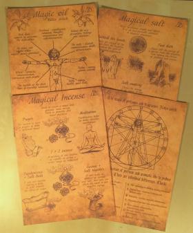 Комплект магических свитков: Духи, Ладан, Масло и Соль