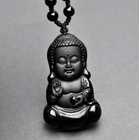 Подвеска Талисман Будда в детстве – счастье и чистота  – обсидиан