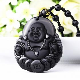 Подвеска Счастливый Будда - денежный талисман – натуральный обсидиан.