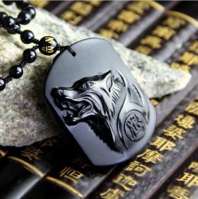 Подвеска Волк - Свобода и Сила – Натуральный обсидиан