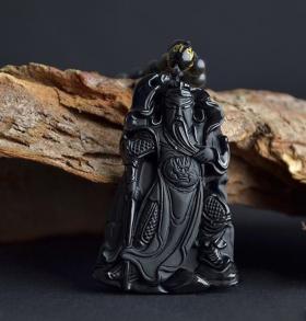 Подвеска Древний китайнский воин Гуан-Юнь – покровитель и защитник - Натуральный Обсидиан