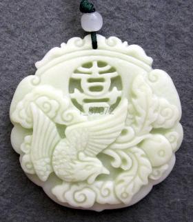 Подвеска Нефритовый феникс – Символ духовного возрождения – Белая яшма