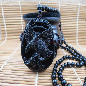 Подвеска Парящий орел – Символ Власти   – Натуральный Обсидиан