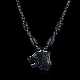 Подвеска на цепочке Волк - Свобода и Сила – Обсидиан
