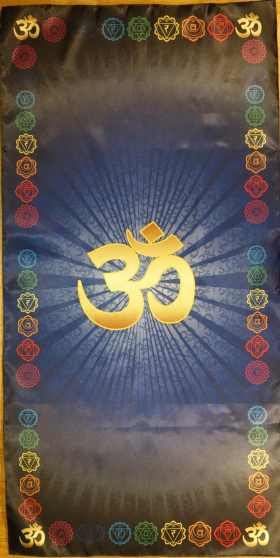Скатерть для медитаций и йоги Аум-синий Большой