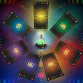 Скатерть для медитаций и йоги Аум-оранжевый Большая