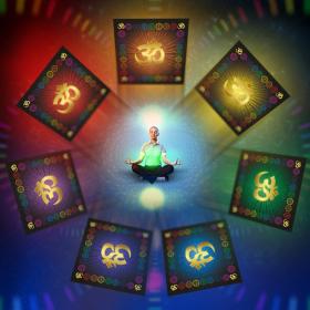 Скатерть для медитаций и йоги Аум-желтый