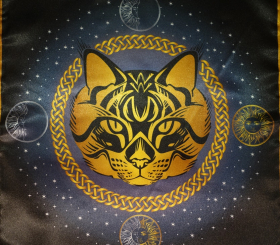 Скатерть Декоративная Предсказательная Серая кошка малая