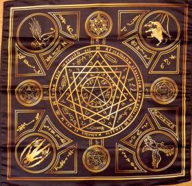 Скатерть-Алтарь Энохеанской магии черный-золотой