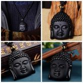 Подвеска Талисман Голова Будды – Счастье и успех  - Натуральный Обсидиан