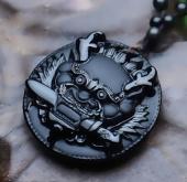 Подвеска Талисман Дракон с мечом – Отвага и Могущество - обсидиан