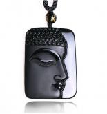 Подвеска Голова Будды - Натуральный Обсидиан