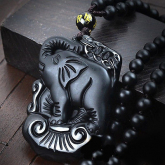 Подвеска Счастливый слон – Обсидиан