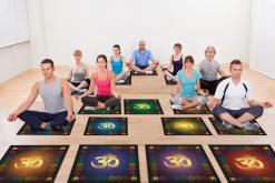 Скатерть для медитаций и йоги Аум-голубой