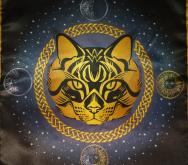 Скатерть Декоративная Предсказательная Серая кошка большая