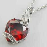 Сердечки-серебро Гранат