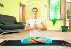 Скатерть для медитаций и йоги Аум-голубой Большой